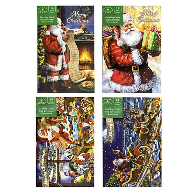 56PK Christmas Cards Greeting Xmas Card with Envelopes Textured Foil Santa