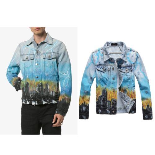 AMIRI Gradient Dragon Print Graffiti Male Slim Fashion Casual Denim Jacket #424