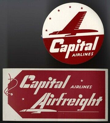 "Luftfahrt & Zeppelin Vignette: 2 Kofferaufkleber Der ""capital Airlines"" #5720"