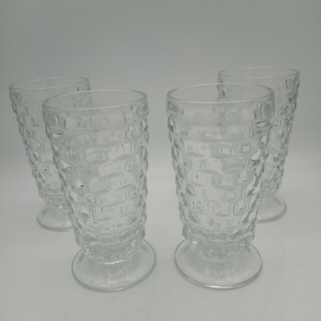 (4) Vintage Indiana Glass American Whitehall Clear Footed Tumblers Tea Glasses