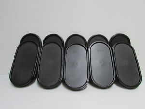2 Tupperware Modular Mates Oval Seal Lid Black Replacement Cover 1616
