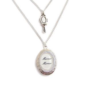 MIRROR-MIRROR-necklace-locket-FAIREST-OF-THEM-ALL-charm-SNOW-WHITE-silver