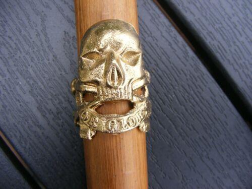Walking Stick badge Nouveauté étain Crâne Mort ou gloire 4 cm haute GOLD FINISH