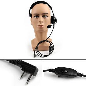 5xHeavy-Duty-Overhead-Headset-PTT-MIC-Fr-Kenwood-Puxing-Wouxun-BaoFeng-Radio-US