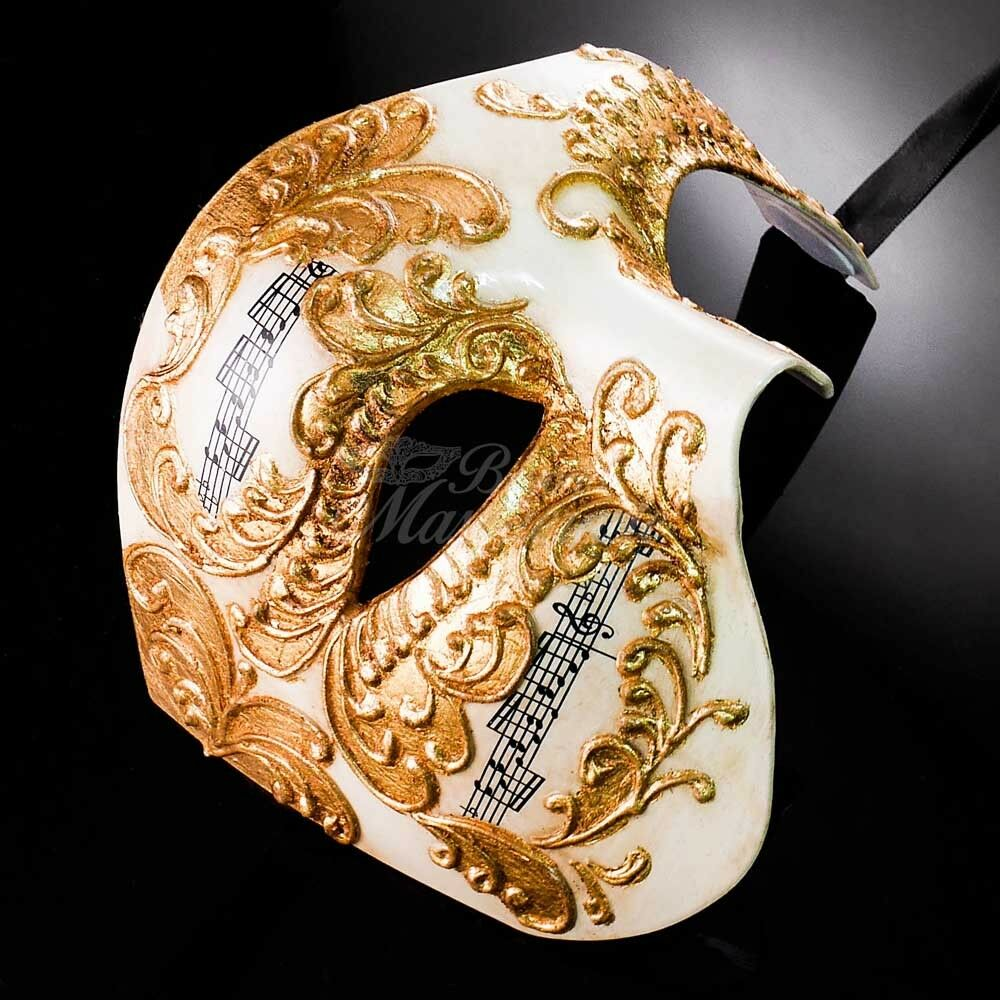 Details about Phantom of the Opera Music Notes Venetian Masquerade Mask for  Men M2602 [Gold]