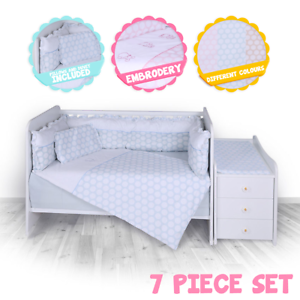 7 Pcs Baby Nursery Bedding Set Luxury Different Colours For Cot And