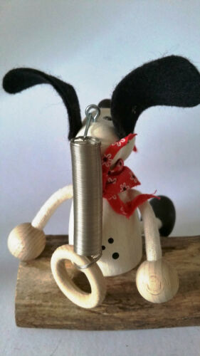 BOUNCY PUPPET 101 DALMATION DOG HANDMADE WOODEN PUPPY SPRINGY TOY MOBILE
