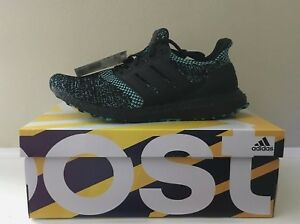watch 4d6cc 41a10 Details about Adidas Ultra Boost EE3733 Black True Green Running Shoes  Men's Sz US 9.5