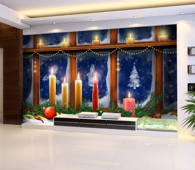 3D Christmas Candle glass WallPaper Murals Wall Print Decal Wall AJ WALLPAPER