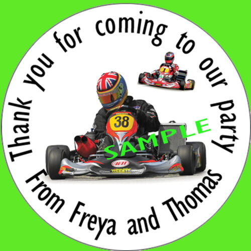 Go Karting Personalised stickers party bags sweet cones Gifts