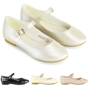Girls-Bridal-Shoes-Flat-Formal-Kids-Buckle-Strap-Wedding-Ballet-Pumps-Size