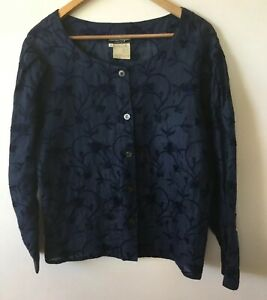 Like-New-Salavtore-Ferragamo-Navy-Embroidered-Linen-Blouse-Size-S