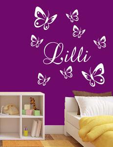 Wandtattoo-Aufkleber-Kind-Kinderzimmer-Schmetterlinge-mit-Name-Wunschname-wu038