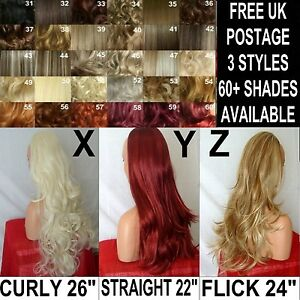 Half-WIG-Long-Curly-Wavy-3-4-wig-fall-Hair-Piece-Black-Brown-Blonde-Red-Auburn