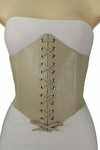 Women Fashion Corset Belt White High Waist Stretch Fabric Band Extra Wide S M