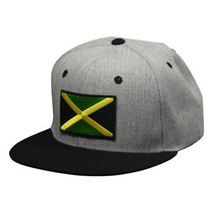 1425ed76 Jamaica Snapback Hat by LET'S BE IRIE - Heather Gray and Black | eBay