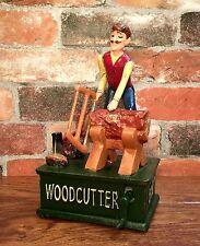 Wood Cutter Vintage Cast Iron Hawthorne Musical Mechanical Coin Bank