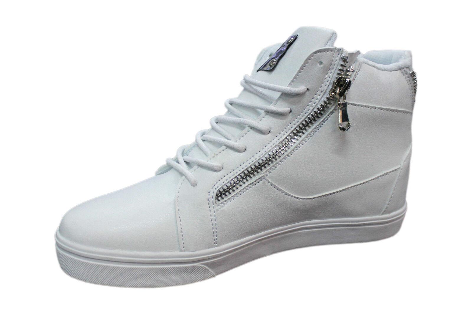 SNEAKERS shoes HOMME CUIR ÉCOLOGIQUE white FERMETURE ÉCLAIR LACETS SPORTIF