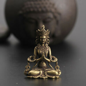 Chinese-Collection-old-Asian-Brass-guanyin-tara-godness-Exquisite-statue