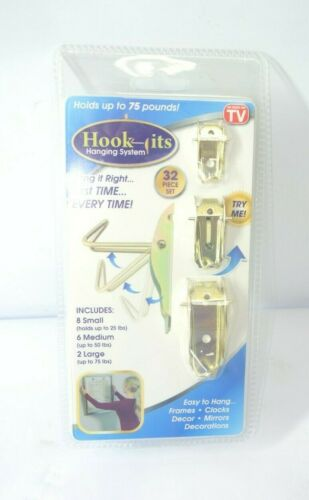 32pc Hook-Its Hanging System Hang Pictures Frames Decor Mirrors Clocks 3 Sizes