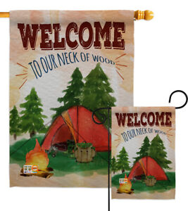 Welcome To Our Neck Of Wood Camping Nature Outdoor Garden Yard Banner House Flag Ebay