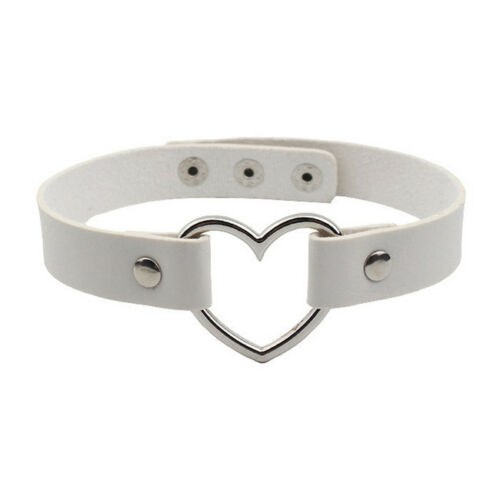 Women Punk Gothic Chain PU Leather Heart Love Charm Collar Choker Necklace S