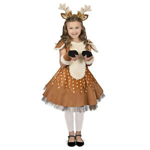 Girls Reindeer Doe The Deer Halloween Christmas Costume Dress Gloves Headband
