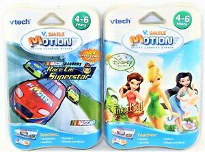 Lot of 2 Vtech V.Smile V Motion Tinker Bell & Race Car Superstar Learning Games