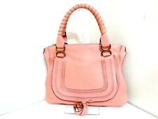 Authentic Chloe Pink-Beige Small Marcie Leather Handbag w/ Guarantee