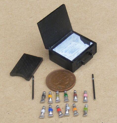 1:12 SCALA artisti in legno Box Set con vernici sciolti tumdee Casa delle Bambole Accessorio