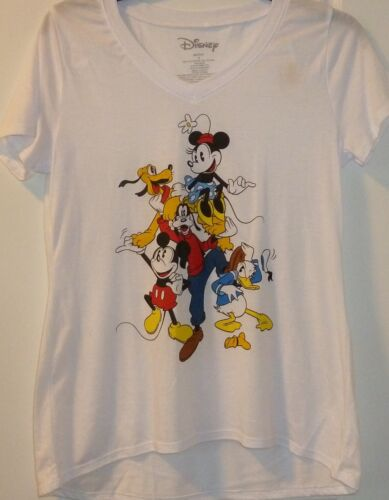 Micky Minni Mouse Goofy Donald Duck Pluto Ladies Women Juniors T Shirt Top NWT