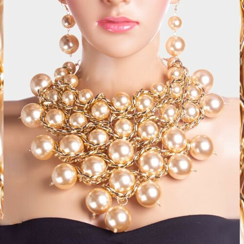 Bib Statement Chunky Ball Wood Beaded Lucite Pearl Cluster Earrings Necklace
