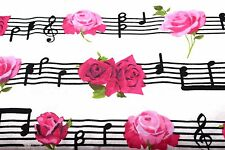 MUSICAL PINK FLOWERS MUSIC FLANNEL FABRIC 100% COTTON SEWING QUILTING SOLD BTY