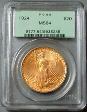 1924 GOLD SAINT GAUDENS $20 DOUBLE EAGLE COIN GREEN LABEL PCGS MINT STATE 64