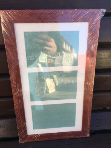 "28""x13"" cherry picture frame with multi mount to fit 3 A4 photos"