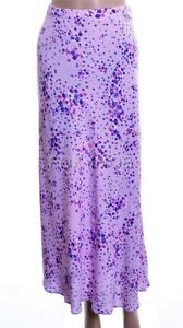 Lilac-Purple-Floral-Print-Chiffon-Knee-Length-Summer-Floaty-Skirt-Size-10-A9