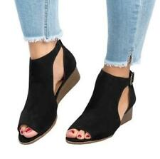 36e683c1b1ec75 item 1 Summer Women Beach Open Peep-Toe Buklet Sandals Low Wedge Heel Shoes  Size UK 3-8 -Summer Women Beach Open Peep-Toe Buklet Sandals Low Wedge Heel  ...