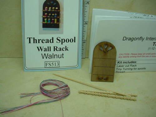 Miniature Thread Spool Wall Rack Kit #FS513 Walnut 1//12th Scale