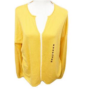 Isela-Yellow-White-Cardigan-Light-Sweater-Size-Medium-Long-Sleeve