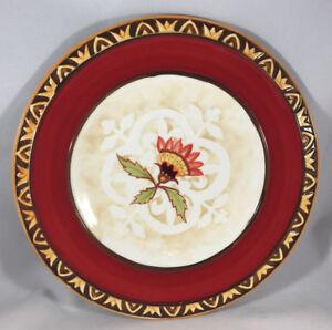 1 Plat à Salade Global Marché Rouge Floral Fitz & Floyd Relief Oiseau 314952 Remises Vente