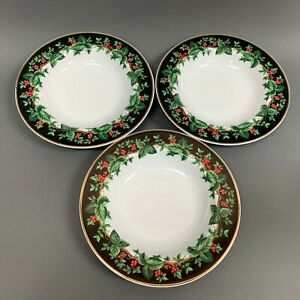 Holiday-Bouquet-Waverly-Soup-Cereal-Bowls-Holly-Berries-9-Gold-Trim-Lot-of-3