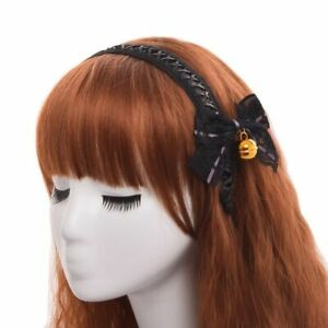 Cute-Lolita-Girl-Black-Lace-up-Hair-Band-Bowknot-Bell-Hair-Clip-Headwear