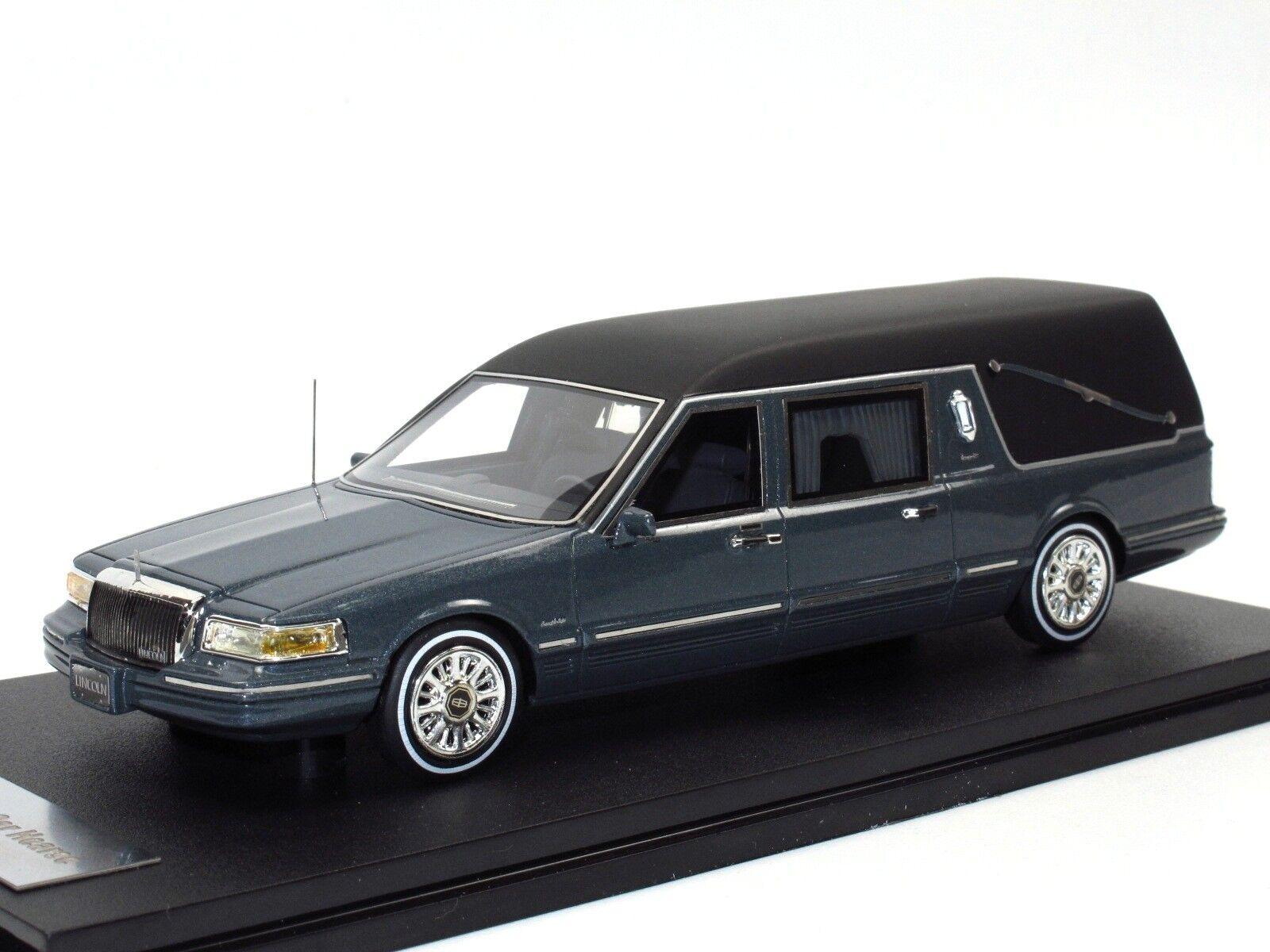 GLM 1997 Lincoln towncar Hearse tristesse car Besteattungswagen grigio metalizado 1 43