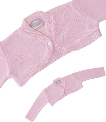 BabyPrem Baby Mädchen rosa weiß stricken Bolero Phantasie Strickjacke 0-23m