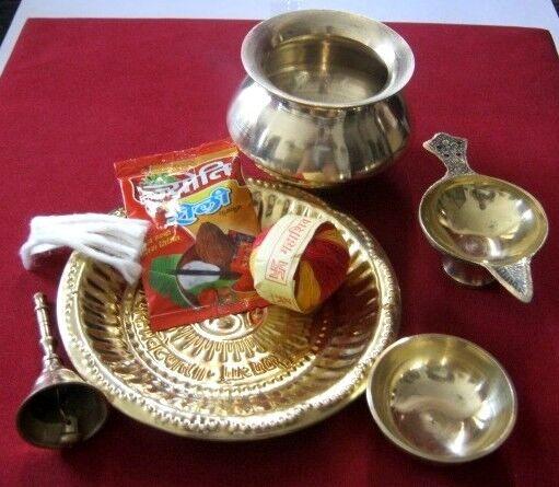 Diwali Hindu Puja Brass Thali bowl Kalash Bell Diya Religious Navratri Pooja