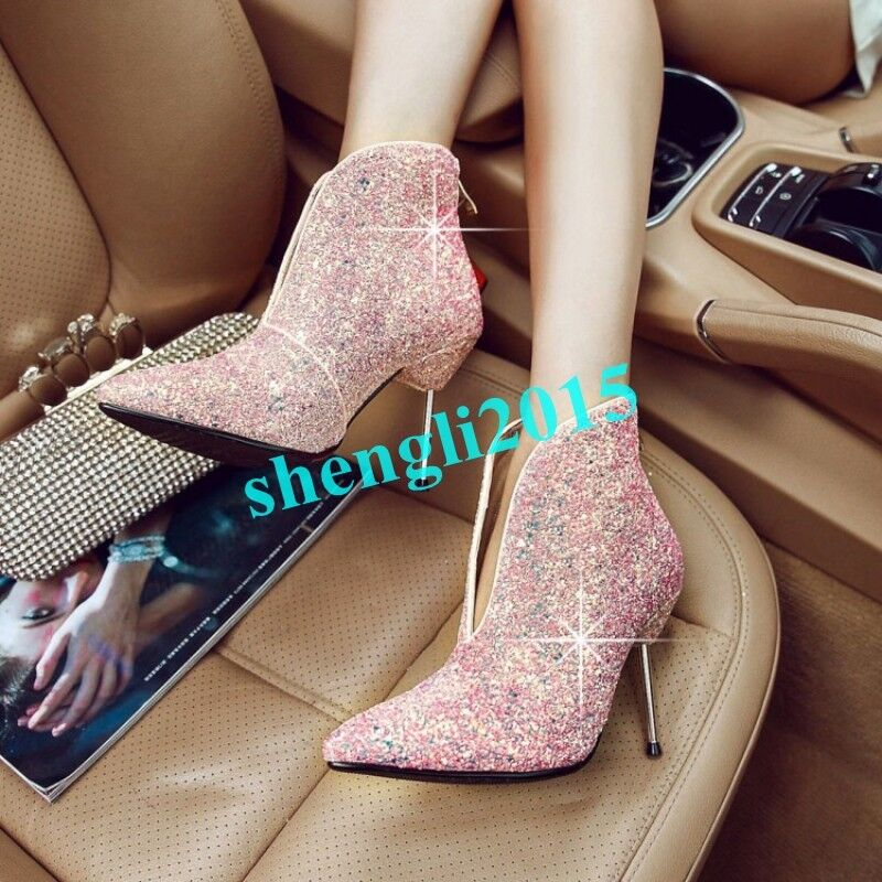 Shiny Womens Pointy Toe Stilettos Sequins Rhinestone Party Party Party Ankle Boots Clubwear a47bd7