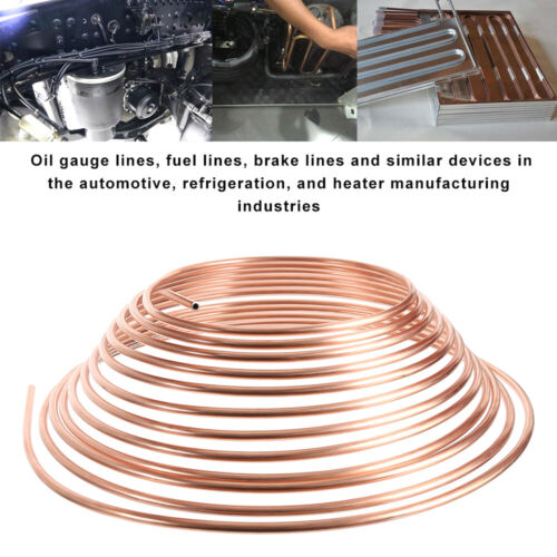 """3//16/"""" 25Feet Car Brake Copper Pipe Hose Tube Piping Joint Union Roll Line Tools"""