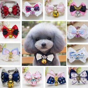 Various-Dog-Cat-Pet-Cute-Bow-Tie-Puppy-Kitten-Necktie-Collar-Bell-Pearl-Necklace
