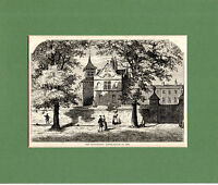 ANTIQUE WOODCUT  - MARYLEBONE SCHOOL HOUSE  -  CASSELL'S OLD & NEW LONDON(1880)