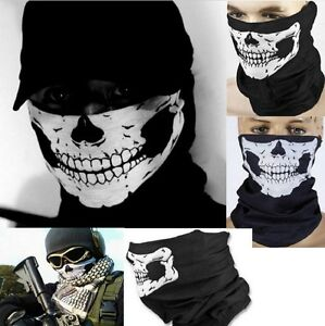 Biker Skeleton Skull Mask Face Scarf Balaclava Motorcycle Snood Bandana Ghost Ebay